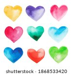 watercolor hearts set on white... | Shutterstock . vector #1868533420