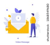 boy watching video message in... | Shutterstock .eps vector #1868549680