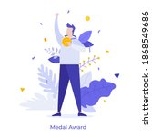 happy man holding golden medal... | Shutterstock .eps vector #1868549686