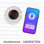 smartphone podcast coffee...