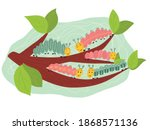Vector illustration, five colorful catepillars on the branch. Cute kids composition for prints, posters, banners and child designs
