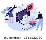 engineer team programming at...   Shutterstock .eps vector #1868622790