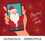 santa's grotto  virtual online... | Shutterstock .eps vector #1868624416
