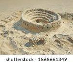 Sand Castle On A Sandy Beach....