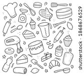 hand drawn set of baking and... | Shutterstock .eps vector #1868676529