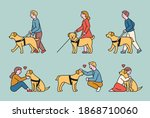 a blind guide dog and a blind... | Shutterstock .eps vector #1868710060