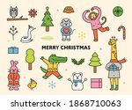 christmas and happy animals.... | Shutterstock .eps vector #1868710063