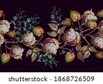 cotton flowers and meadow herbs ... | Shutterstock .eps vector #1868726509