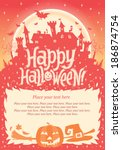 happy halloween. halloween... | Shutterstock .eps vector #186874754