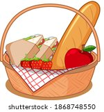 basket with many foods for... | Shutterstock .eps vector #1868748550