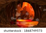 Infernal Dark Cave With Lava...