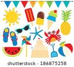 summer fun   beach vacation | Shutterstock .eps vector #186875258