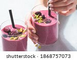 Berry Smoothie With Nuts In...