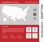 usa red fire map infographic....