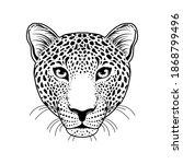 leopard muzzle on white... | Shutterstock .eps vector #1868799496