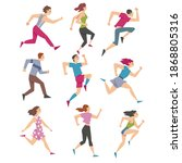 people characters running and... | Shutterstock .eps vector #1868805316