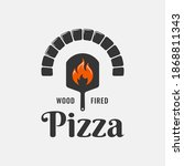 pizza logo with pizza shovel...   Shutterstock .eps vector #1868811343