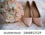 A Bride Shoes With Wedding Gold ...