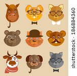 decorative animal hipsters... | Shutterstock .eps vector #186884360