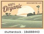 vintage organic farm | Shutterstock .eps vector #186888443