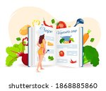 woman reading the recipe ... | Shutterstock .eps vector #1868885860