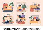 set of young freelance man and... | Shutterstock .eps vector #1868903686