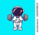 cute astronaut lifting dumbbell ... | Shutterstock .eps vector #1868908819