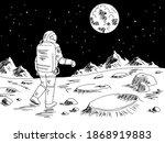 Spaceman Astronaut Walking On...