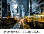 Hong Kong With Car Light At...