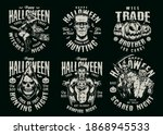 halloween vintage emblems with... | Shutterstock .eps vector #1868945533