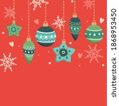 christmas card with hanging... | Shutterstock .eps vector #1868953450