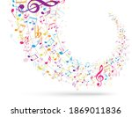 colorful music notes background ... | Shutterstock . vector #1869011836