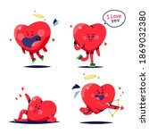 cute heart characters vector...   Shutterstock .eps vector #1869032380
