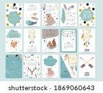 cute animal calendar 2021 with... | Shutterstock .eps vector #1869060643