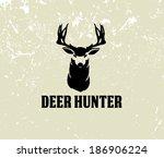 illustration of deer head on grunge background - stock vector