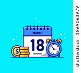 calendar  gold coin and clock... | Shutterstock .eps vector #1869063979