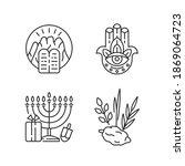 judaism beliefs linear icons... | Shutterstock .eps vector #1869064723