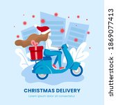 gift christmas delivery ... | Shutterstock .eps vector #1869077413