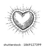 heart with rays. vector black...   Shutterstock .eps vector #1869127399