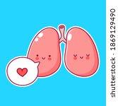 cute funny human lungs organ...   Shutterstock .eps vector #1869129490