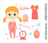 a set of a child in pajamas and ... | Shutterstock .eps vector #1869153010