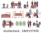 funeral services set with flat... | Shutterstock .eps vector #1869157450