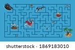 kids maze. pirate game with... | Shutterstock . vector #1869183010