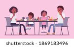 happy black family eating... | Shutterstock .eps vector #1869183496