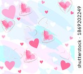 seamless romantic pattern. pink ... | Shutterstock . vector #1869202249