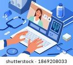 doctors hands typing on laptop...   Shutterstock .eps vector #1869208033