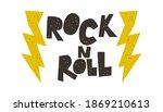 rock'n'roll music print  cutout ...   Shutterstock .eps vector #1869210613