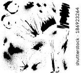 set of black blots and ink... | Shutterstock .eps vector #186923264