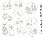 set of vector hand drawn sketch ... | Shutterstock .eps vector #186923780