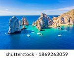 Small photo of Aerial view of the Arch (El Arco) of Cabo San Lucas, Mexico, at the southernmost tip of the Baja California peninsula